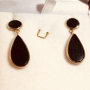 14k gold earrings with dark garnet gemstones